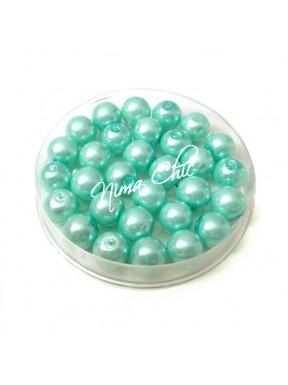 80 pz perle in vetro cerato pvc Verde Tiffany 8mm