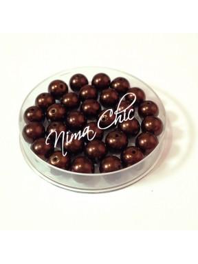 80 pz perle in vetro cerato pvc Marrone cioccolato 8mm