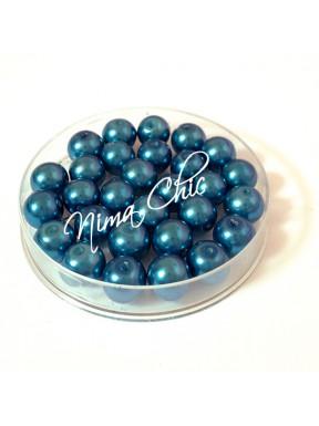 80 pz perle in vetro cerato pvc Blu 8mm