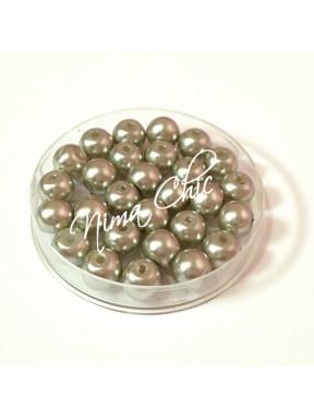 80 pz perle in vetro cerato pvc Argento 8mm