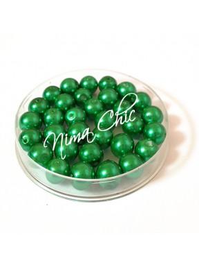 80 pz perle in vetro cerato pvc Verde bottiglia 8mm
