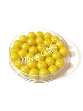 80 pz perle in vetro cerato pvc Giallo 8mm