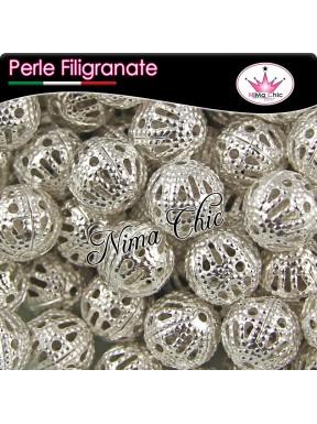 20 Perle filigranate distanziatori argento 8mm