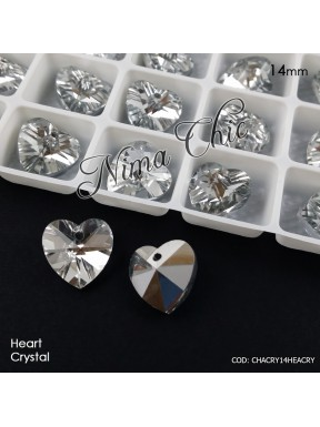 2 pz CIONDOLI PENDENTI IN CRISTALLO Heart crystal 14mm