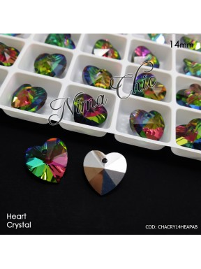 2 pz CIONDOLI PENDENTI IN CRISTALLO Heart peridot ab 14mm