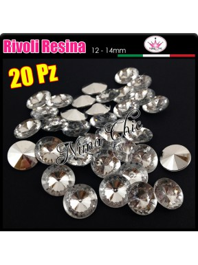 20 pz RIVOLI RESINA crystal 12mm