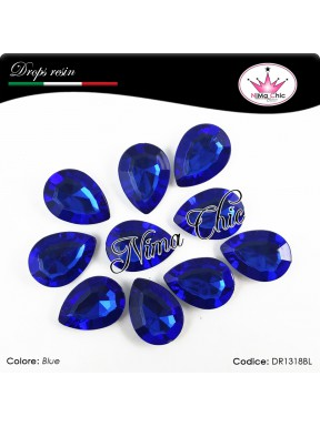 10 Pezzi GOCCE in resina 13x18mm Blue