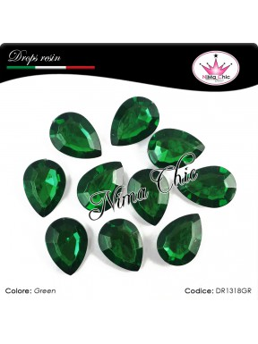 10 Pezzi GOCCE in resina 13x18mm Green