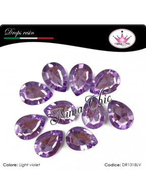 10 Pezzi GOCCE in resina 13x18mm Light Violet