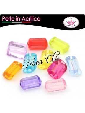 10 PERLE in Acrilico rettangolari colori misti 18x12mm