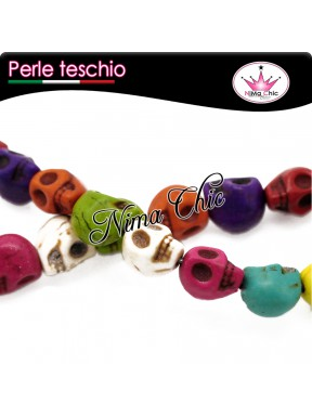 10 PERLE IN HOWLITE teschio