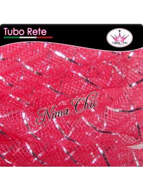 2mt RETE TUBOLARE Nylon 4 o 8mm Rosso/argento