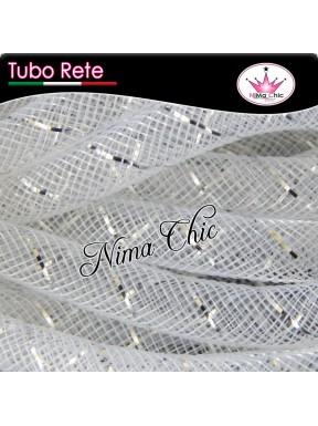 2mt RETE TUBOLARE Nylon 4 o 8mm Bianco/argento