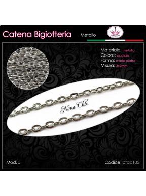 Catena per Bigiotteria in metallo ACCIAIO 3x2mm