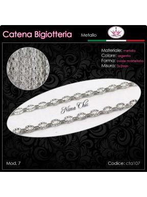 Catena per Bigiotteria in metallo MARTELLATA ARGENTO 3x2mm
