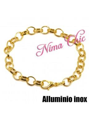 2 pz Base per Bracciale catena alluminio oro semitonda unisex