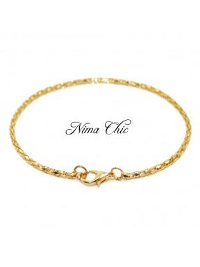 Base per Bracciale catena metallo intrecciata colore oro