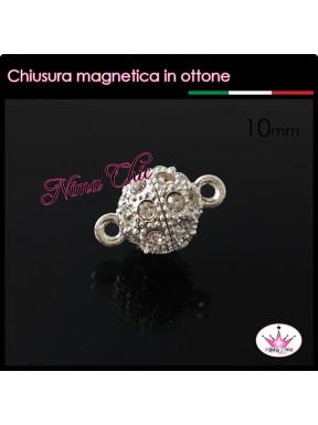 Chiusura Magnetica TONDA con strass colore argento 10mm