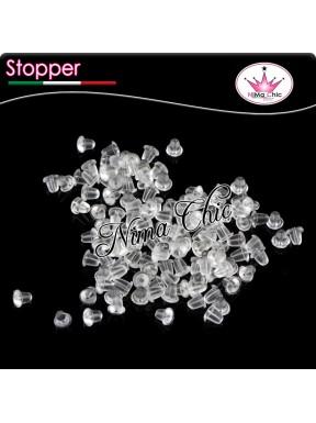 200pz STOPPER gommini trasparenti per BASI PERNO orecchini
