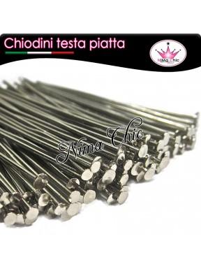 100 CHIODINI T - 3,5 cm metallo col. acciaio