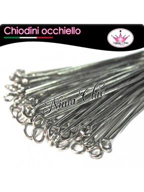 100 CHIODINI occhiello 5 cm metallo col. acciaio