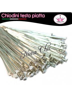 100 CHIODINI T - 3 cm metallo col. argento