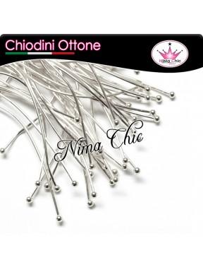 100 CHIODINI SPILLO - 7 cm OTTONE col. argento