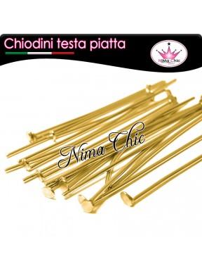 100 CHIODINI T - 3,5 cm metallo col. oro